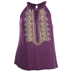 13321fee9d798 INC International Concepts 1x Plus Size Embroidered Purple Halter Top
