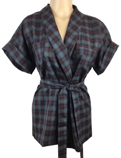Item - Gray Belted Plaid Blouse Size 10 (M)