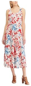 Red Maxi Dress by Chaps Midi Sleeveless Lace Up Floral
