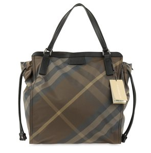 Burberry Polyester Nylon Leather Tote in Brown