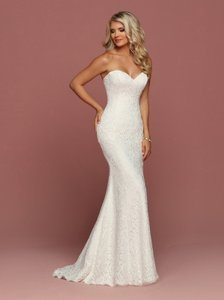 DaVinci Bridal Ivory Lace Strapless Fitted Fit N Flare Style 50491 Destination Wedding Dress Size 12 (L)