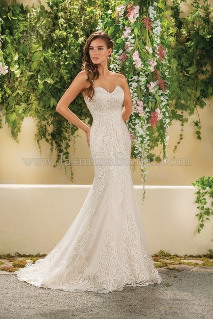 Item - Ivory/Gold Lace Sweetheart Strapless & Tulle Style F181014 Formal Wedding Dress Size 10 (M)