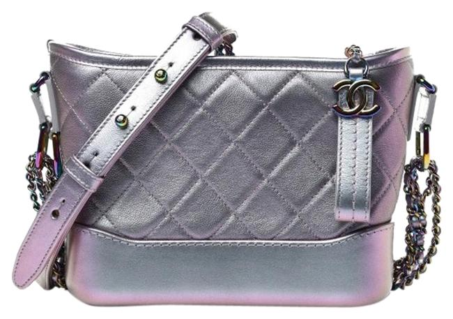 Item - Gabrielle Iridescent Quilted Small Light Purple Lambskin Leather Hobo Bag
