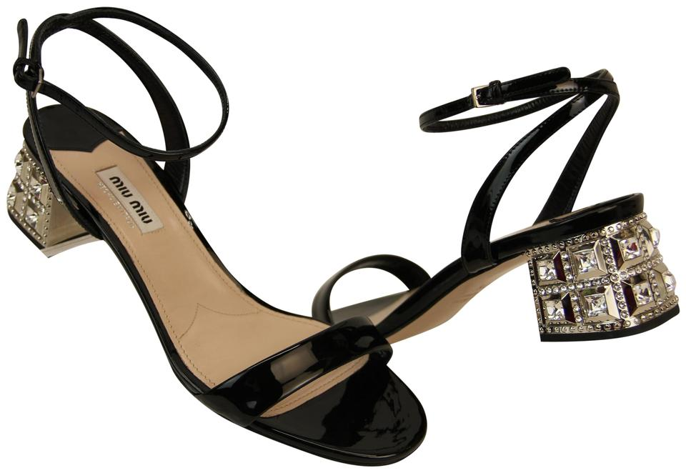 58c1127afed01 Miu Miu Black Patent Leather Crystals Jeweled Italy Sandals Size EU ...