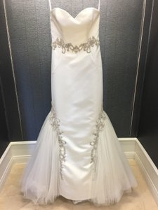 Enzoani Ivory Satin Kenzi Strapless Mermaid Gown with Silver Embroidered Lace Modern Wedding Dress Size 8 (M)