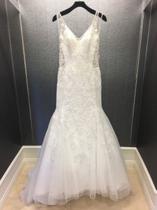Sophia Tolli Ivory Tulle Sleeveless & Illusion Fit N Flare Gown Style 11707 Sexy Wedding Dress Size 10 (M)