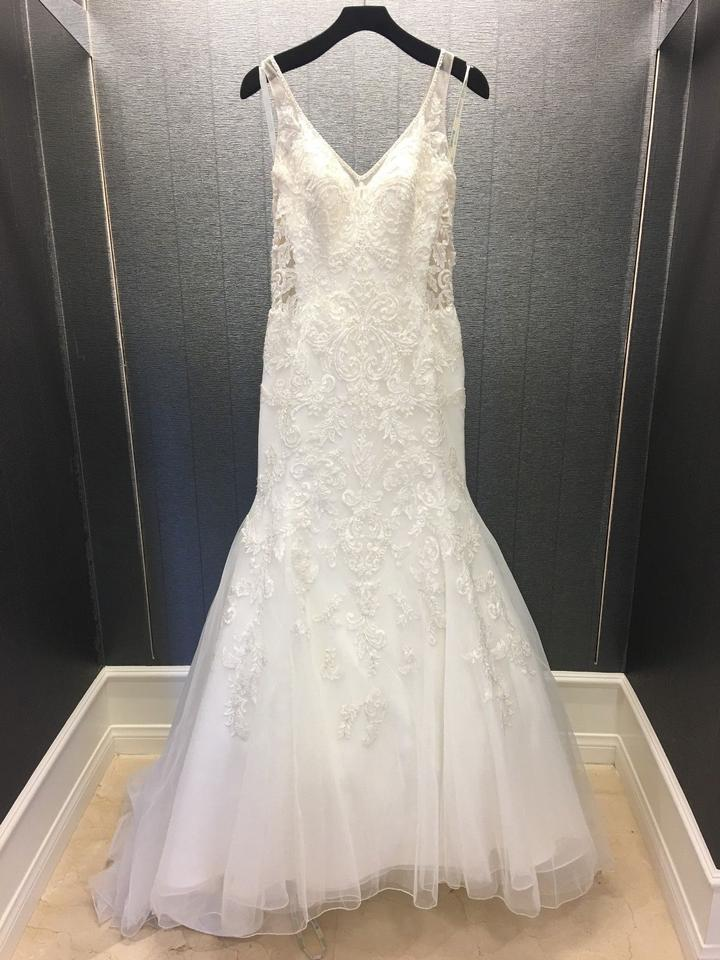 Sophia Tolli Ivory Tulle Sleeveless Illusion Fit N Flare Gown Style 11707 Sexy Wedding Dress Size 10 M 36 Off Retail