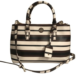 Tory Burch Purse Handbag Cross Body Tote Shoulder Satchel in White black brown
