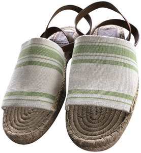 Tory Burch Green and Ivory Sandals