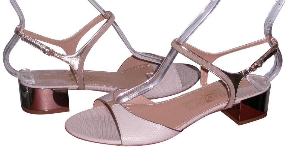 9a2992bebbe Salvatore Ferragamo Beige   Gold Maddy Metallic Block Heel Sandals ...