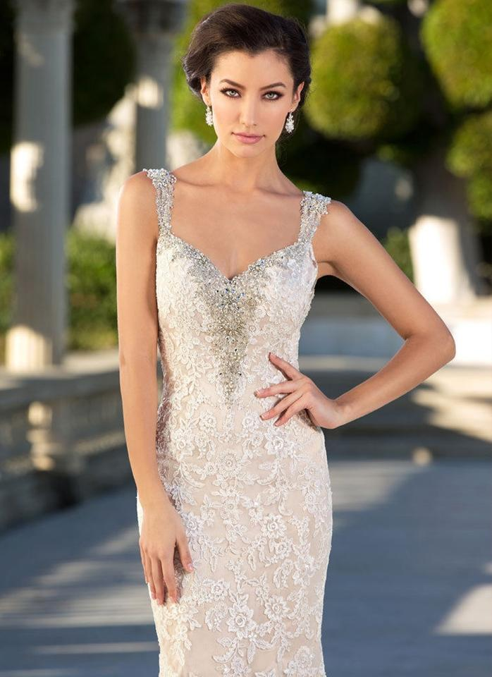 784a87b1 KittyChen Couture Ivory/Nude Lace Makayla & Beaded Long Sheath Gown Formal  Wedding Dress Size. 1234