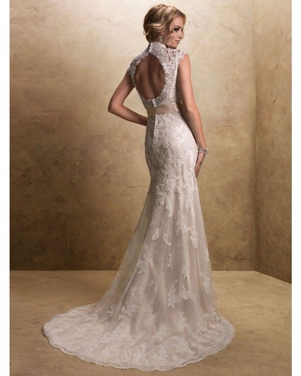 Maggie Sottero Ivory/Gold Lace Bronwyn & Cap Sleeve Gown Modest Wedding Dress Size 20 (Plus 1x) Image 1