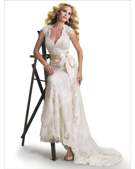 Maggie Sottero Ivory/Gold Lace Bronwyn & Cap Sleeve Gown Modest Wedding Dress Size 20 (Plus 1x) Image 2