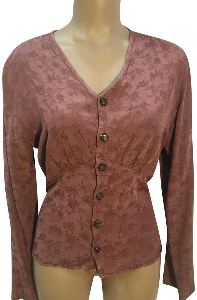 470d437edab9f8 CP Shades Brown Floral Embroidered Blouse Size 6 (S) - Tradesy