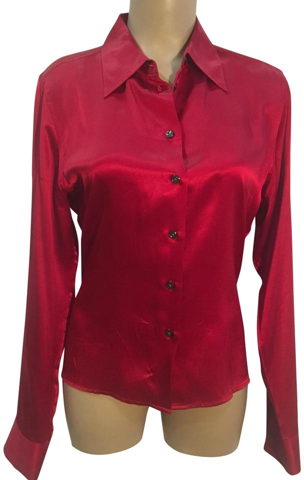 07d886775c886 The Limited Red Silk Button-down Top Size 10 (M) - Tradesy