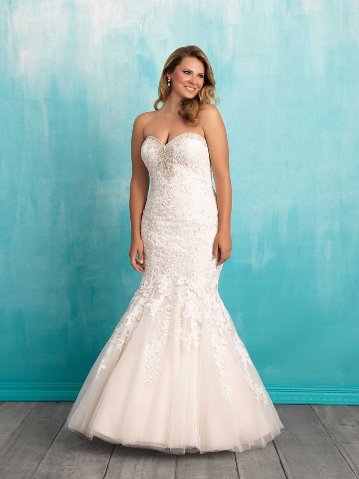 9c669e8ce9d0 Allure Bridals Champagne/Ivory Lace Strapless Mermaid Gown Style W371  Traditional Wedding Dress