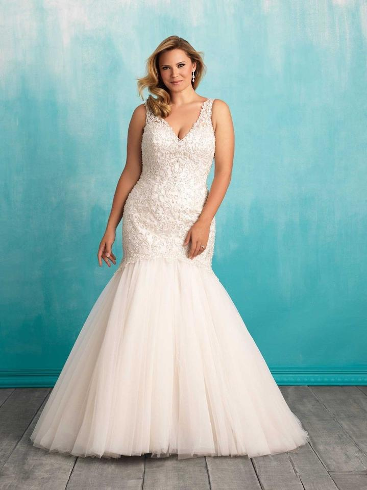 507507b86348 Allure Bridals Cafe/Ivory Lace/Tulle V-neck Beaded Mermaid Gown Style W377  Modern Wedding Dress