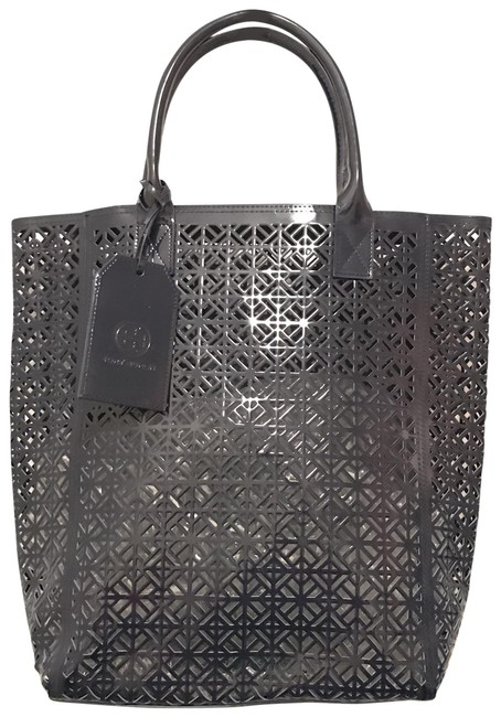 Item - Lace Laser Cut Vegan Navy Blue Faux Leather Tote