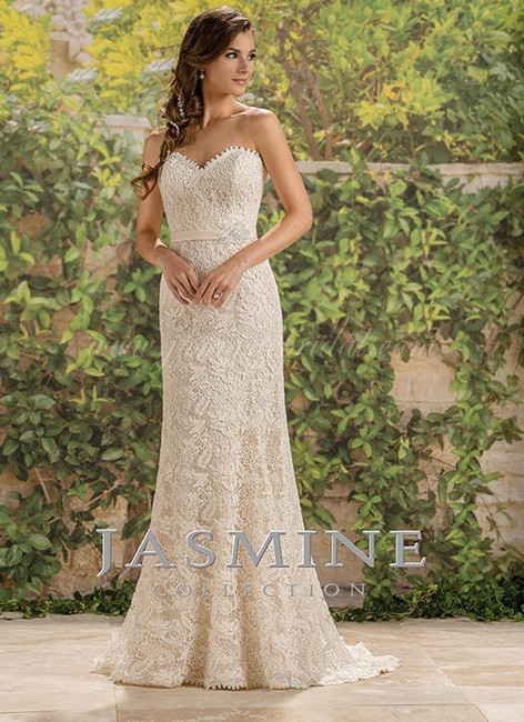Item - Light Gold Lace Strapless Sweetheart Sheath Traditional Wedding Dress Size 14 (L)