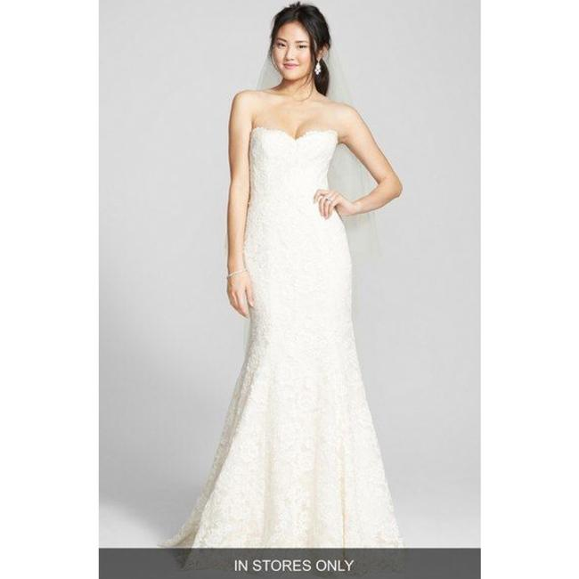 Item - Ivory/Blush Strapless Lace Trumpet Gown Formal Wedding Dress Size 10 (M)