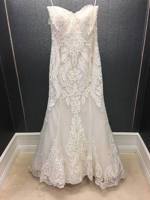 Item - Ivory/Gold Lace Strapless Mermaid Gown Traditional Wedding Dress Size 10 (M)