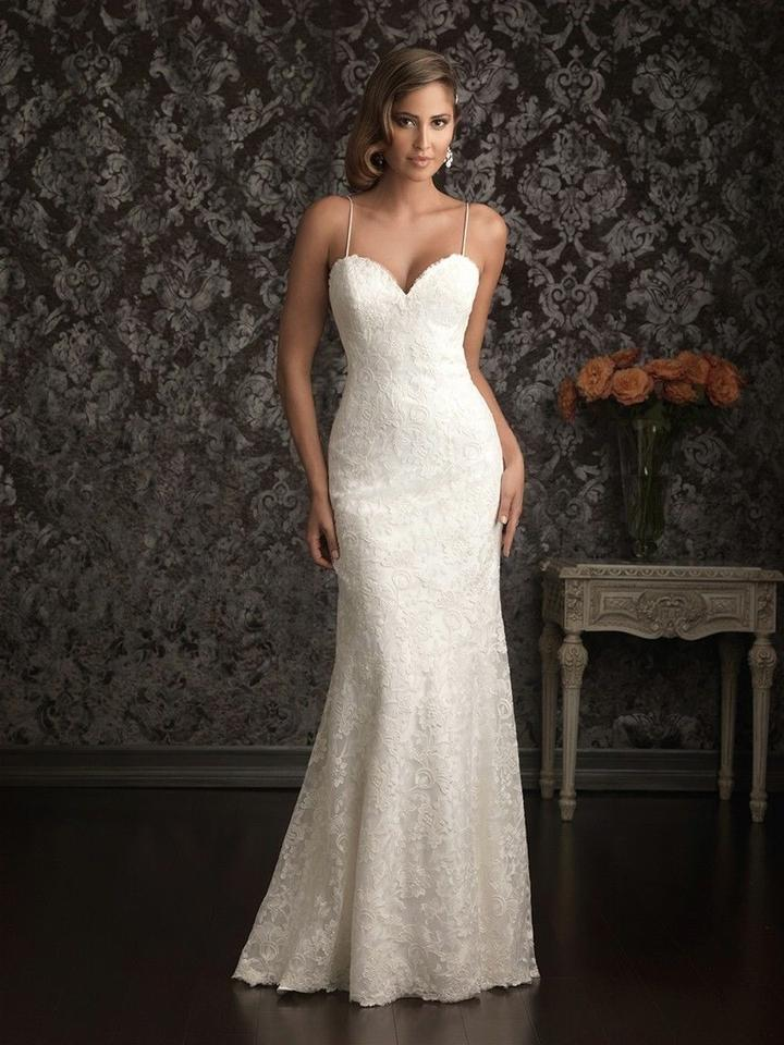 42bb9eae3 Allure Bridals Ivory Lace Spaghetti Strap Slim Fit Sweetheart Gown Style  9021 Destination Wedding Dress Size ...