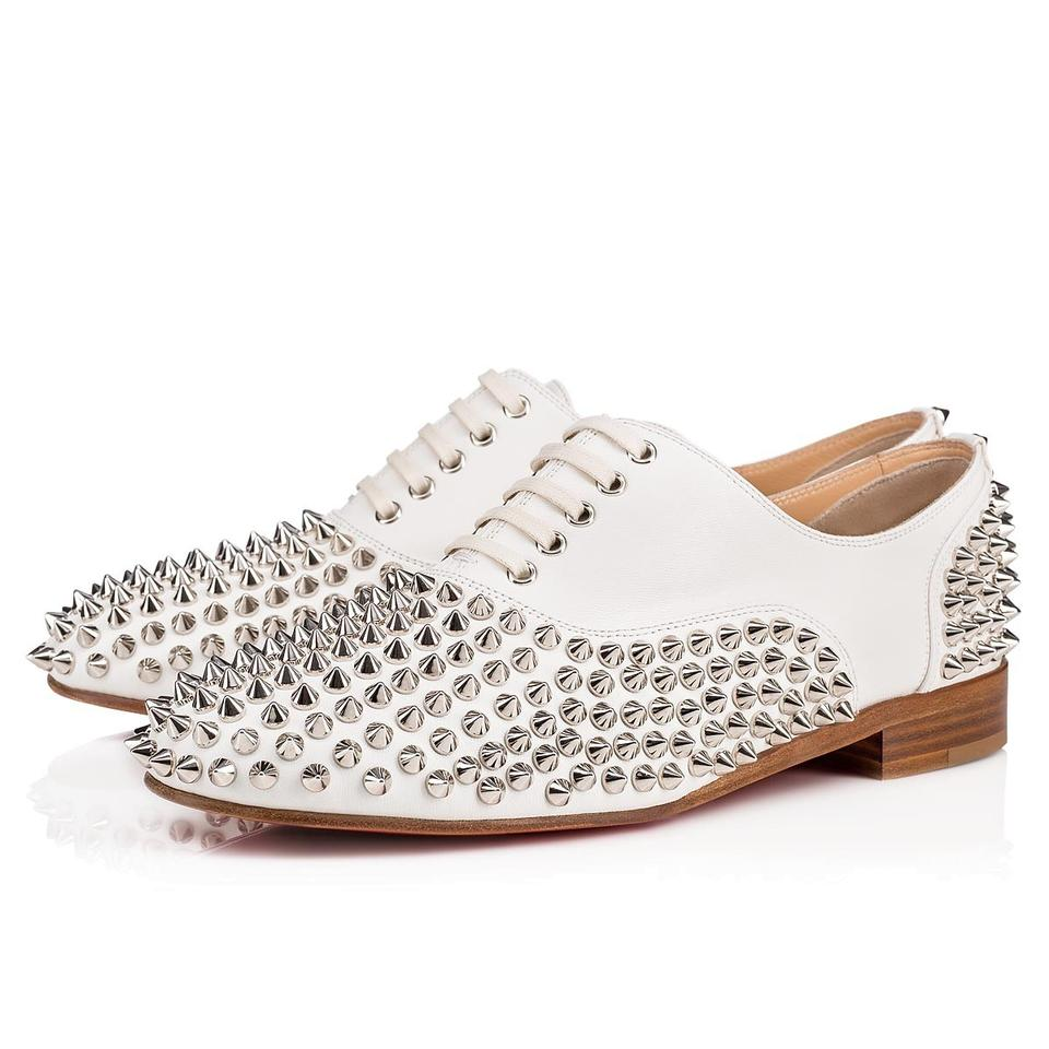 45c6ebdd767b Christian Louboutin White Silver Freddy Spiked Studded Leather Lace Up  Oxford Flats
