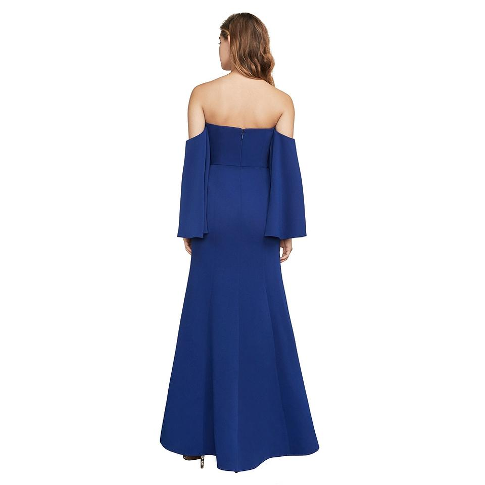 7243f4a4249 BCBGMAXAZRIA Deep Royal Blue Simone Crepe Off The Shoulder Gown Formal Dress