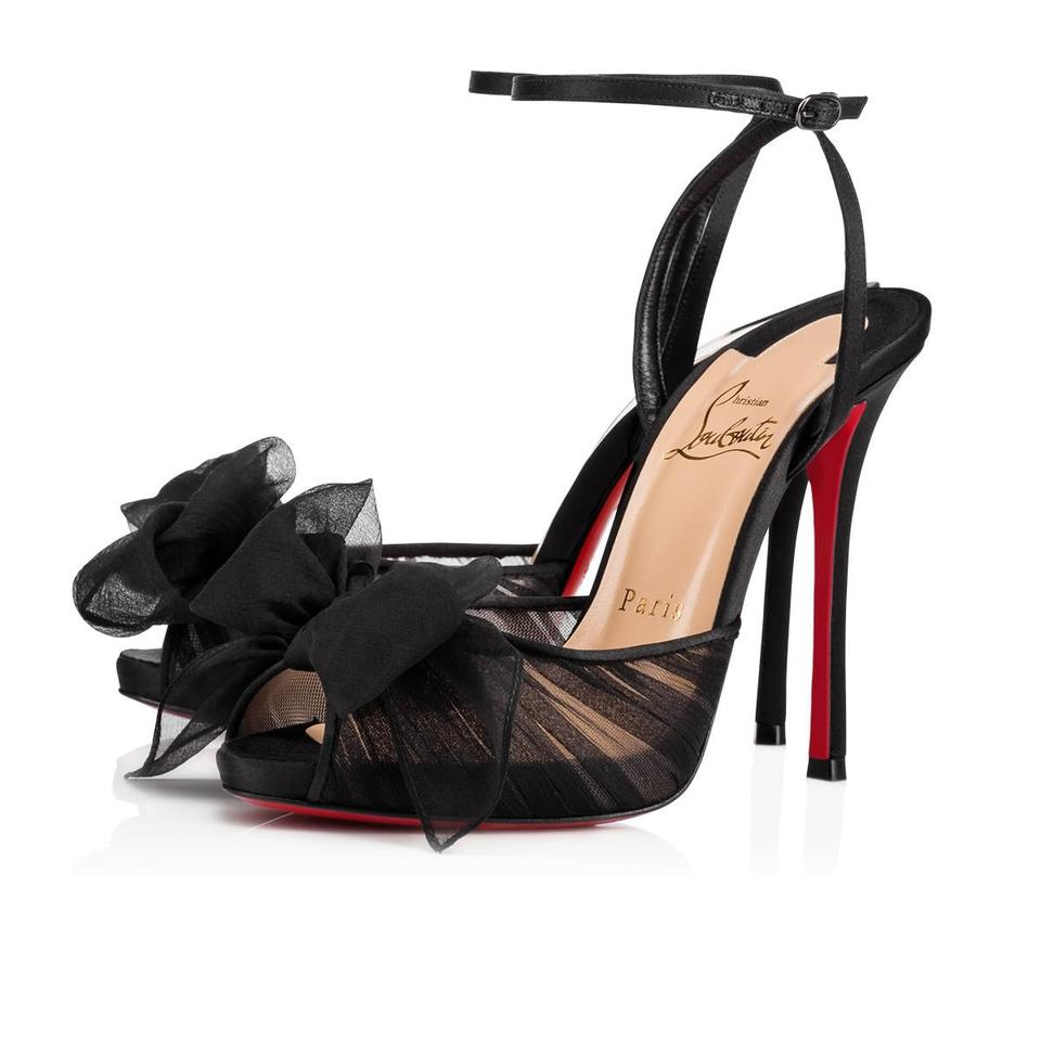 huge selection of 3eda0 77fcc Christian Louboutin Black Artydiva 120 Ruched Chiffon Satin Ankle Strap Bow  Heels Sandals Size EU 38 (Approx. US 8) Regular (M, B) 28% off retail