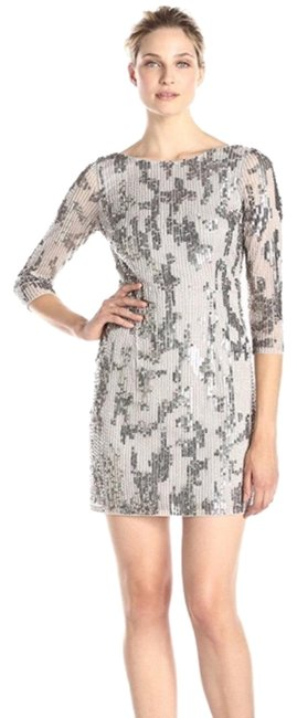 Item - Silver Beaded 3/4 Sleeves Short Cocktail Dress Size 4 (S)