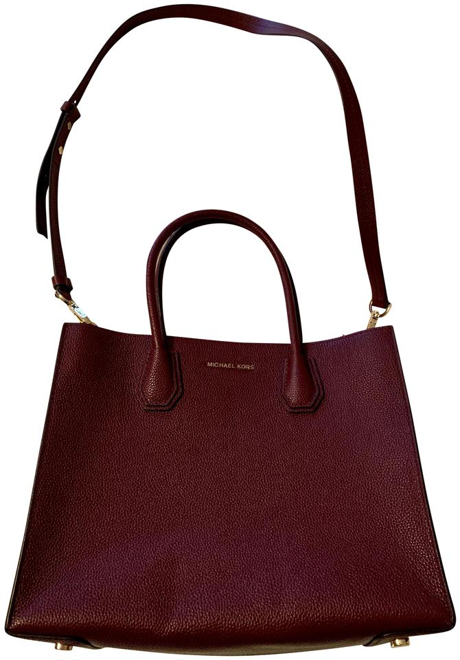 f27e5c96a998 Michael Kors Mercer Large Plum Leather Tote - Tradesy