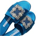 Manolo Blahnik Wedding Hangisi Jewel Embellished Swarovski blue Flats