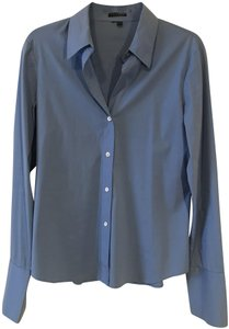 Theory Cotton Fitted Boyfriend Oxford Button Down Shirt blue