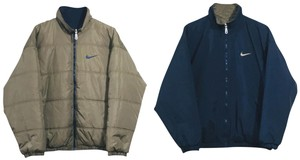 Nike Reversible Windbreakers Bomber Jacket Pea Coat