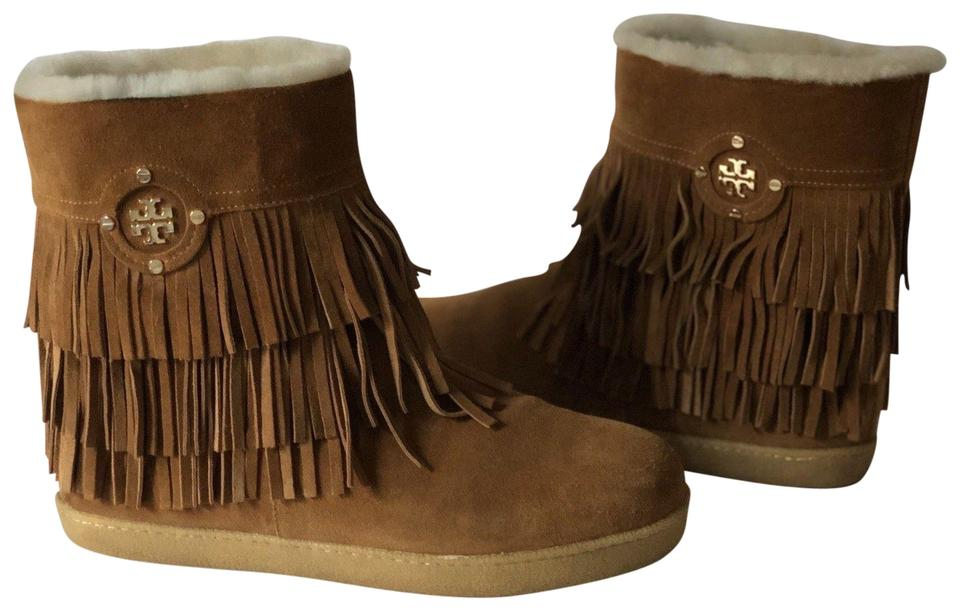 b08007f3842 Tory Burch Brown Collins Suede Leather Fringed Ankle Boots Booties ...