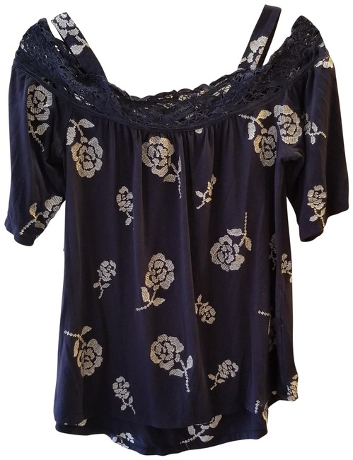 Item - Navy and White A Pea In A Pod Open Shoulder Maternity Top Size 6 (S)