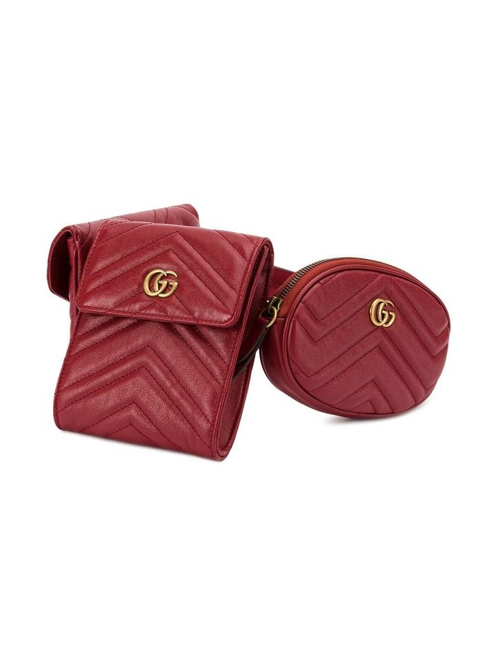 1913ba638bc Gucci Red Marmont Matelasse Quilted 3 Piece Bag Size 85 Belt - Tradesy