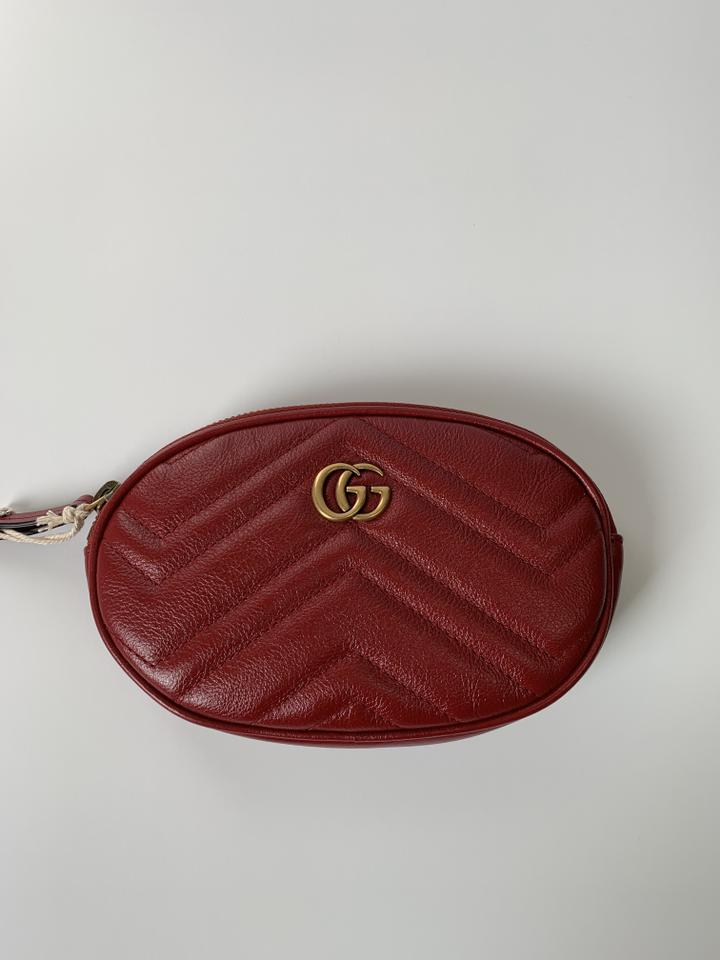 c99c84eca4341 Gucci Red Bag Marmont Matelasse Quilted 3 Piece Size 85 Belt - Tradesy