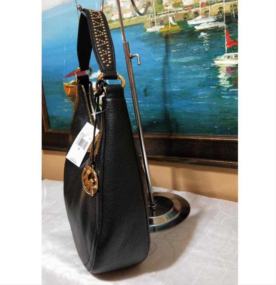 5da16f306ff25 Michael Kors Lydia Hobo Medium 35h8gl0l6l Black Leather Shoulder Bag ...