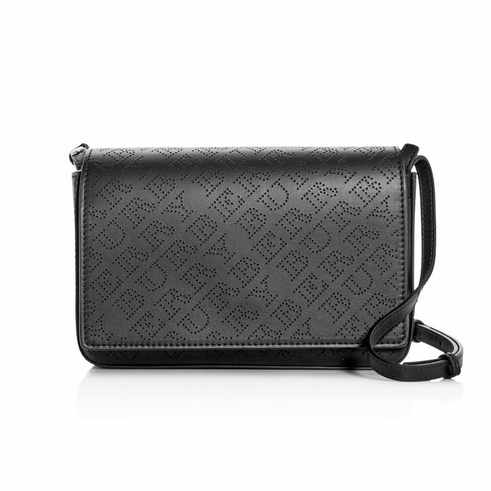 3b005523273d Burberry Perforated Logo Convertible Black Leather Cross Body Bag ...