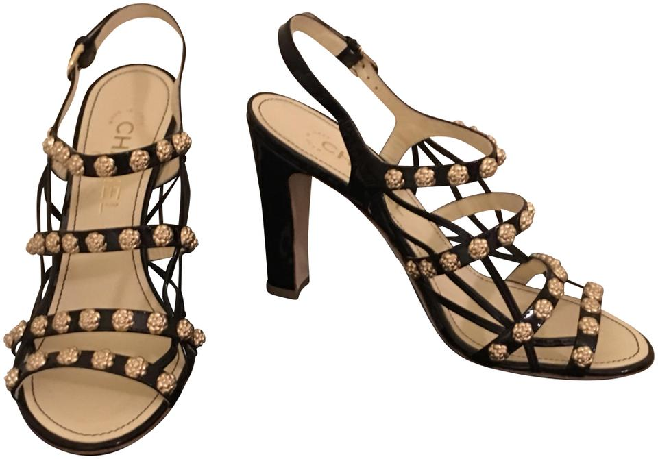 d5b5fa8f7f5 Chanel Black Patent Leather and Metallic Gold Camelias and Buckles. Coco  Heels Sandals Size EU 38 (Approx. US 8) Regular (M, B) 70% off retail