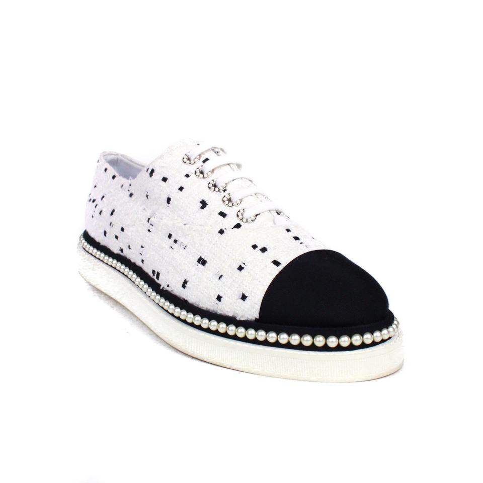 2c6ccceb82ba Chanel White Black Pearl Sneakers Multi Tweed Loafer Sneakers Size ...