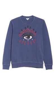 0a0fe0c16 Kenzo Logo Embroidered Long Sleeve Sweatshirt. Kenzo Blue Embroidered Eye  Logo Long Sleeve Sweatshirt/Hoodie Size ...