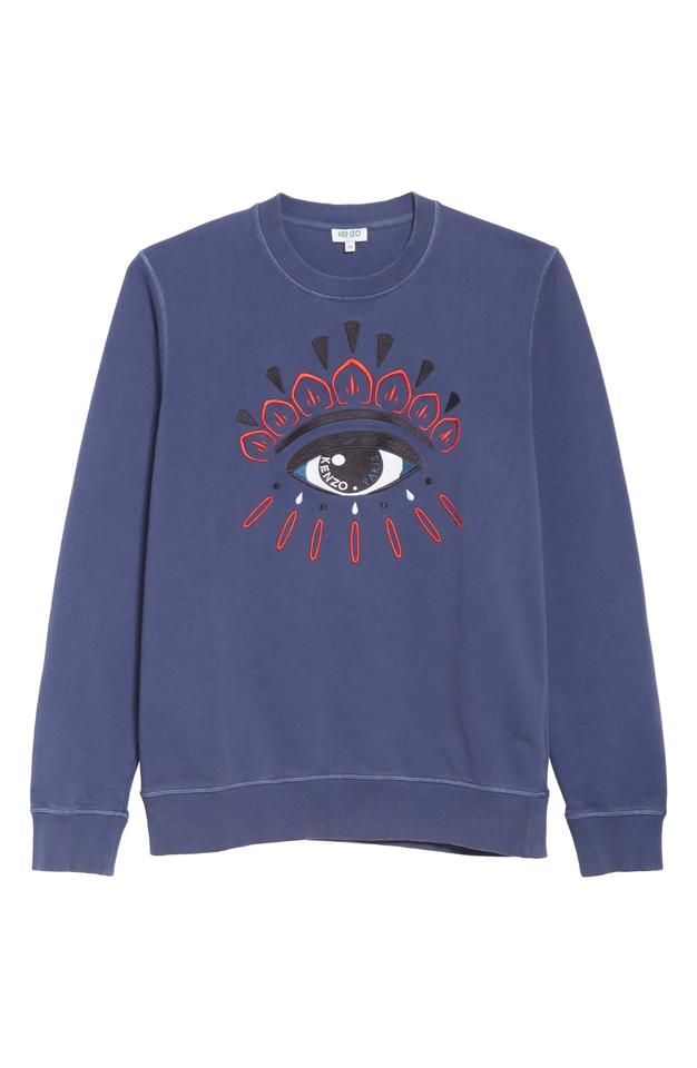 dcb37424a3c Kenzo Blue Embroidered Eye Logo Long Sleeve Sweatshirt/Hoodie Size ...