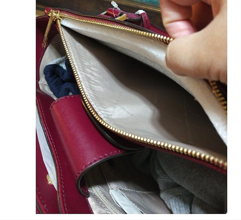 eaa5f0c1ba4 Michael Kors Carolyn Large Tote Mulberry Red Leather Satchel - Tradesy