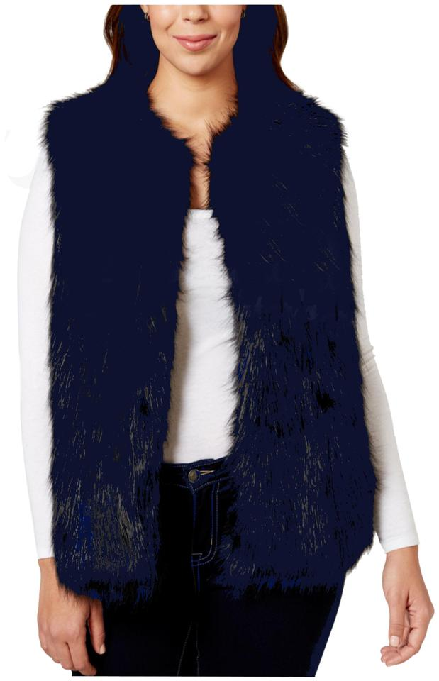 374934e7466 Jou Jou Navy Plush Faux Fur Open Front Jacket Style No. 125-1466bcxl Vest.  Size  20 (Plus 1x) ...