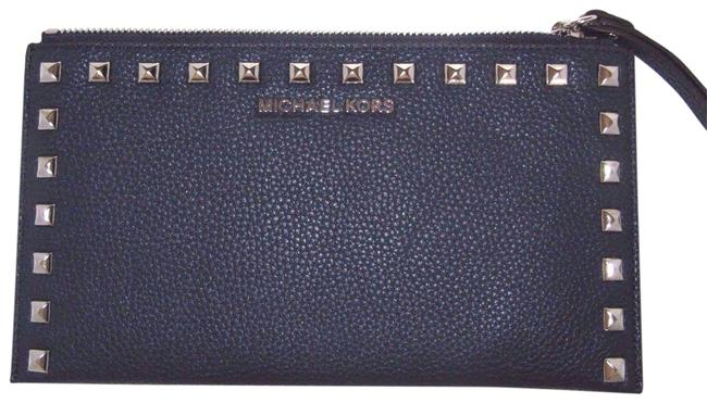 Item - Large Zip Pebbled Navy Leather Clutch