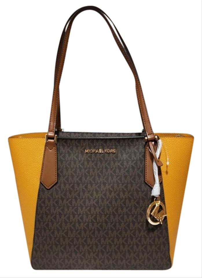 Michael Kors Kimberly Bonded Top Zip Small Multicolro Brown Miragold Yellow Leather Tote 67% off retail