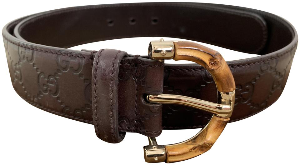 63bf5f80d56 Dark Brown Bamboo Gg Logo Guccissima Embossed Leather Belt. GUCCI