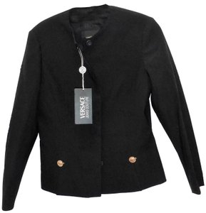 Versace Jeans Collection Jacket Medusa Gold Buttons Detachable Buttons Classic Timeless Cut Made In Italy Black Blazer